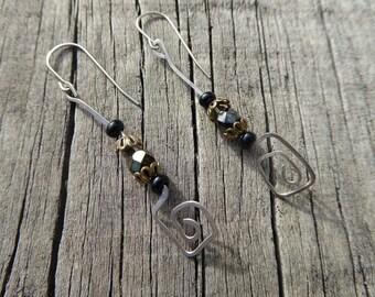 Sterling silver earrings. Simple elegant design. Brown glass beads. Hammered wire earrings .Nickel free earrings.