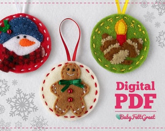 Christmas felt ornaments DIY Pattern Red Set 2, Gingerbread man, Frosty, candle with pines Digital PDF, Instant download