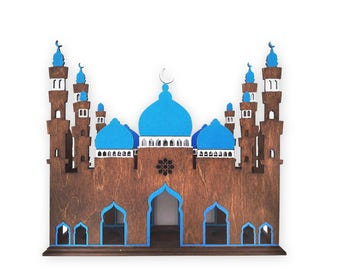 Wooden Mosque lantern for 3 tealights - different colors, oriental, moroccan