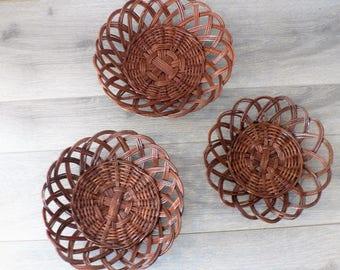 Boho Dark Brown Woven Wall Basket Trio