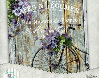 Shabby Chic Digital Collage - Vintage Bicycle, French Typography, Decoupage,Fabric Transfer,Paper Craft Supplies,Printable Image - Violettes