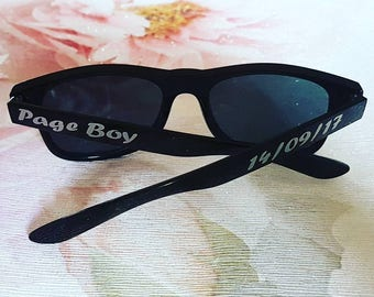 Page Boy Sunglasses, ring security gift, personalised wedding, fashion, ring bearer, flower girl, eyewear, children, childs, custom made.