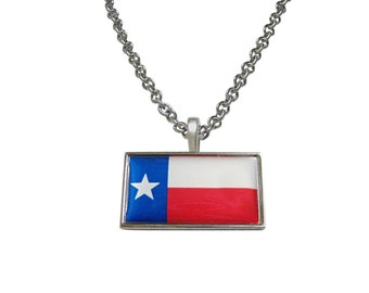 Thin Bordered Texas Flag Pendant Necklace
