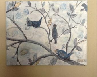 Original acrylic mixed media Birds