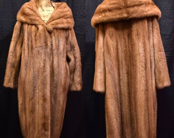 Full Mink Coat | Vintage Emba Pastel, Natural Brown Royal Quality. Long, Full Length Jacket. Soft, Luxurious, Real Fur, Super High Quality