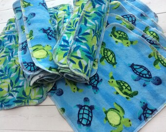 Seaweed Turtle -Flannel Wipes - Cloth diaper wipes - Reusable baby wipes- Family Cloth