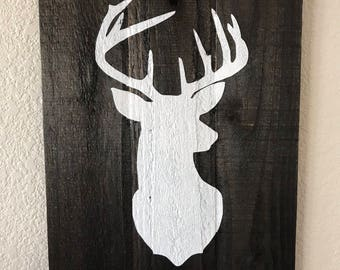 Deer Head Woodland Wall Sign