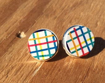 Circus Stripes:Wood Stud Earring