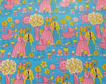 Vintage Shower Wrapping Paper, Vintage 70s Gift Wrap, One sheet 20X30 inches, Baby Wedding Blue Gift Wrap,  Scrapbook