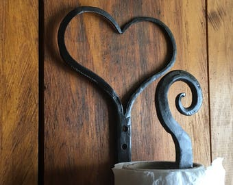 Heart Paper towel holder iron hanger vertical wall cabinet mounted  horizontal under cabinet black bronze copper scrolls hand forged