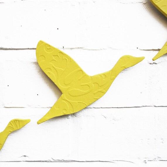 Flying ducks wall art 3D painting Sunshine yellow ceramic Set