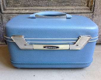 Vintage 1960s Airway Train Case Suitcase Light Blue Hard Shell Case