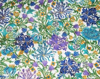 BTY Timeless Treasures SUFFOLK Metallic Garden Print 100% Cotton Quilt Craft Fabric by the Yard