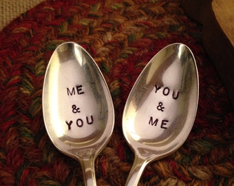 Hand Stamped Silver Spoons, Wedding Gift, Silver Spoons, Hostess Gift, Stamped Silverware, Silver Teaspoon, Hand Stamped Teaspoon, Bridal