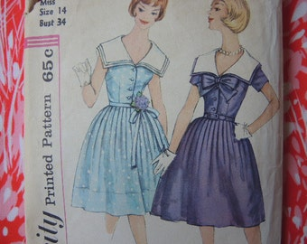 vintage 1960s Simplicity sewing pattern 3920 one piece dress full skirt sailor collar size 14