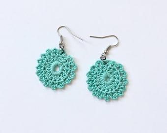 Crochet Drop Earrings / Handmade Jewelry / Addison Earrings / Handmade Earrings / Turquoise Earrings / Gifts for Her / Birthday Gifts