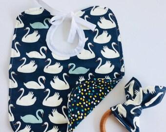 Blue swan bib and teething ring set