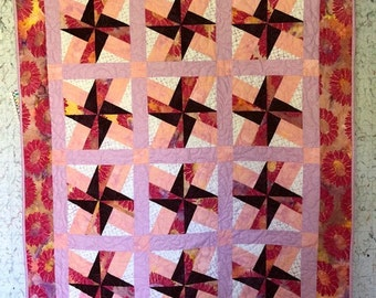 Spinning Stars in Pink Quilt, Quilts for Sale, Handmade Quilts, Quilts for Gifts, Lap Quilts