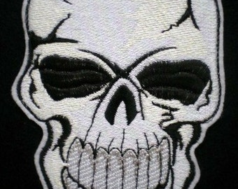 Large Embroidered Applique Skull Patch, Skeleton, Day of the Dead, Gothic, Biker, Motorcycle Patch