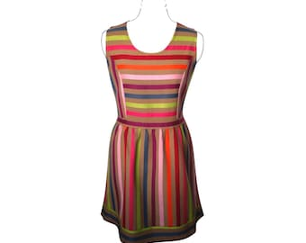 Cotton dress with vertical and horizontal stripes