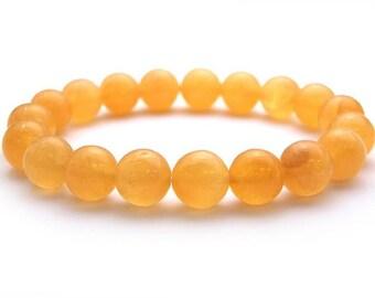 10mm Calcite Bracelet, Stretch Bracelet, Honey Calcite Bracelet, Calcite Jewelry, Yellow Stone Beaded Bracelet Womens, Valentines Day Women