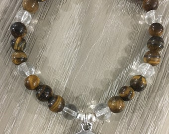 Tigers Eye and Clear Quartz bracelet with Tree of Life charm