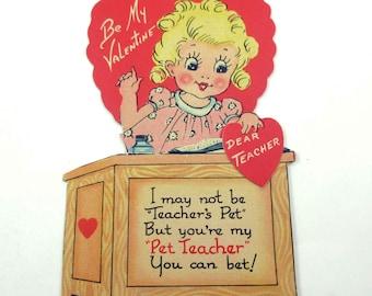 Vintage Valentine Greeting Card with Pretty Blonde Teacher at School Desk