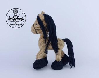 Buckskin horse-- little crochet toy