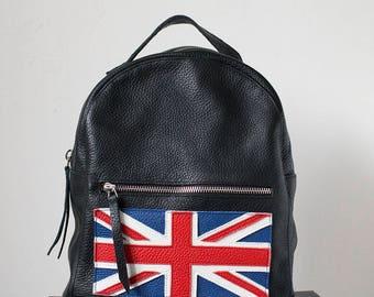 Handmade leather backpack. Black. British flag