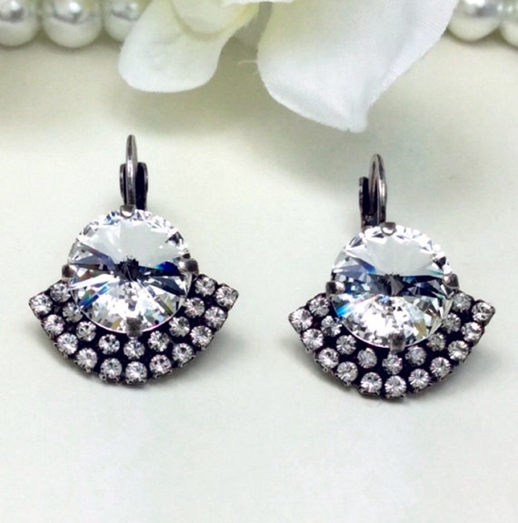 Swarovski Crystal 12MM Drop Earrings Radiant Crystal Clear Bridal Earrings -  With Art Deco Flair - Pure Sophistication - FREE SHIPPING