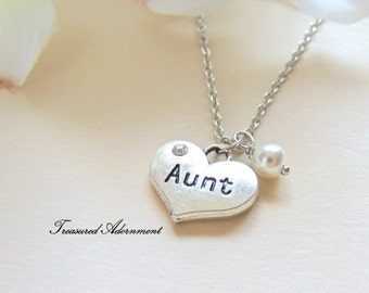 READY to SHIP, Aunt Necklace, Heart Necklace with White Swarovski Pearl, Aunt gift, Mother's day gift, Thank you gift, gift for Auntie
