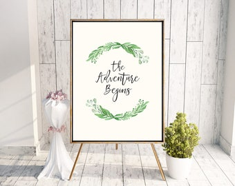 Printable Greenery Wedding Welcome Poster