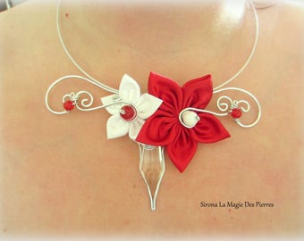 adornment red flower satin