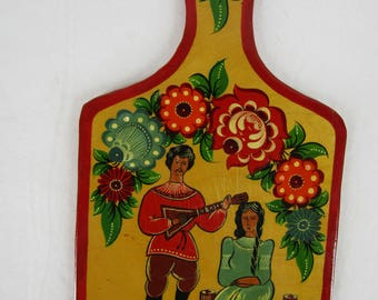 Vintage hand painted European cutting board
