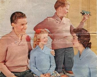 Family Pullover DK 26-42ins Lister Lavenda 536 Vintage Knitting Pattern PDF instant download