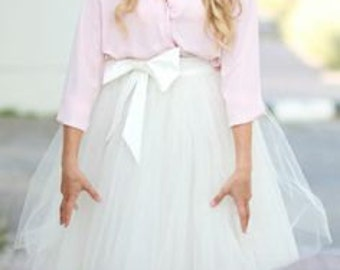 White Full Fluffy Short Tulle Skirt