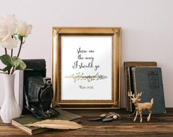 Psalm 143:8 Scripture print Bible verse wall art print Printable verses, Arrow print, Christian wall art decor, Calligraphy print BD-1007