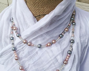 2 Row Necklace, Pearl Necklace, Gray Pearl, Special Occasion Jewelry, Gray and Peach Jewelry, Date Night Necklace, Bridal Jewelry