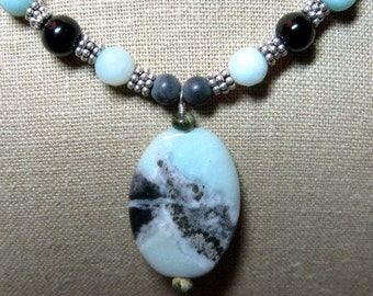 Amazing Amazonite Pendent Necklace of Anazonite, Onyx & Bali Silver - N088
