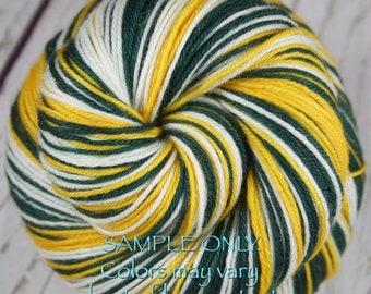 "Sports Team Self Striping Sock Yarn - ""GREEN-GOLD-WHITE"" - Hand dyed - Green Bay - Oakland - Seattle"
