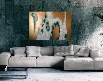"Emerald Green Painting, Extra Large Art, Abstract large Painting, Green wall art, Abstract gold, 40"" Large Painting, Gold Painting, Spray"