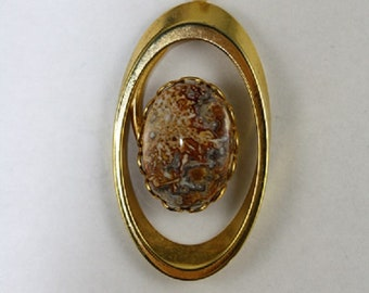 Oval Orbit Pendant with 13x18 Mexican Crazy Lace Agate - Item 2001