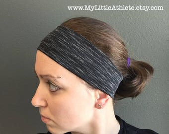 Jersey Headband, Yoga Headband - Running Headband - Fitness Headband - Workout Headband, Stretchy Black No Slip Headband