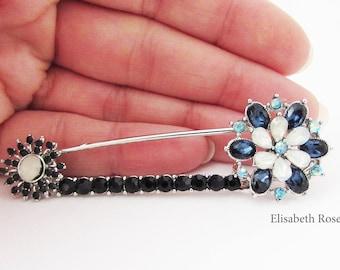 Navy Blue Crystal Brooch Pin, Navy Blue Kilt Pin, Scarf Pin, Kilt Pin, Pin for Coat, Pin for Shawl, Bow Brooch, Navy Blue Scarf Pin