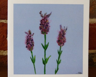 French Lavender on pale blue - greeting card