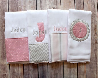 Personalized Monogrammed Baby Girl Burp Cloth Set - Custom Burp Cloth Set for new baby girl or baby shower gift!
