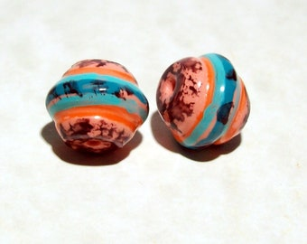 NOW ON SALE Polymer Clay Beads Hand Painted Very Interesting Shape
