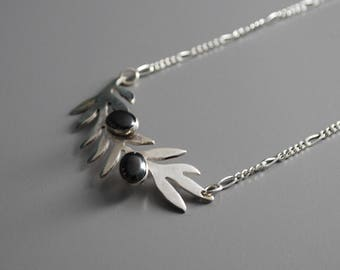 """Olive Branch Necklace - 19"""" Chain - .925 Sterling Silver - Onyx - Handmade"""