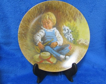 Vintage 1980 Collector Porcelain Plate Little boy blue limited edition - Mother goose series