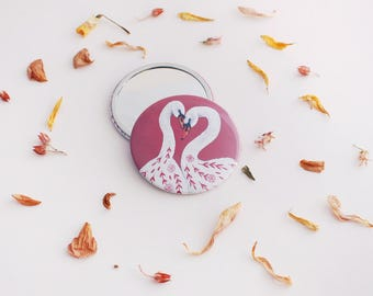 Compact Mirror, Pocket Mirror, Valentines Day Gift, Gift for Her, Bridesmaid Gift, 76mm Mirror, Stocking Filler, Rustic Mirror, Purse Mirror
